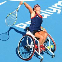 Female tennis player in a wheelchair